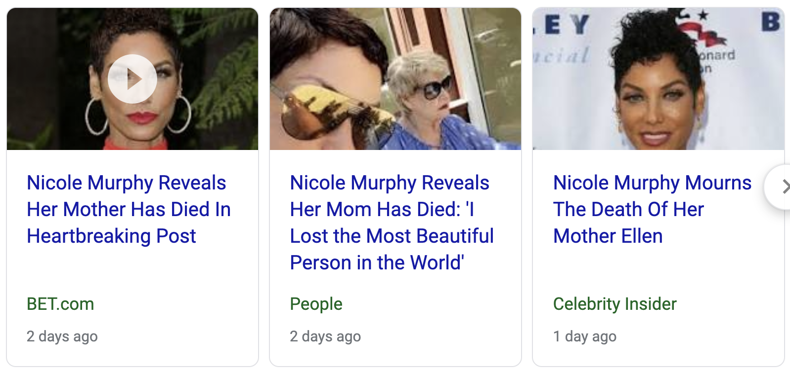 free to find truth: 57 206 | Nicole Murphy's mother dies