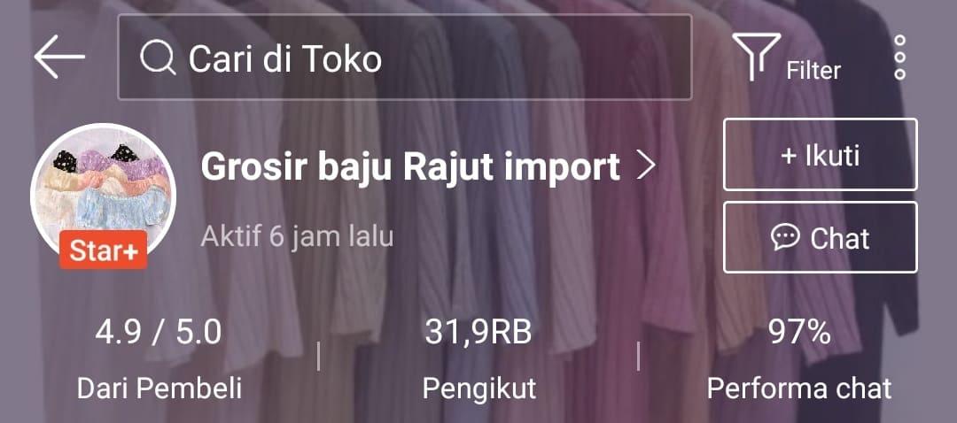 Grosir baju rajut import di Shopee
