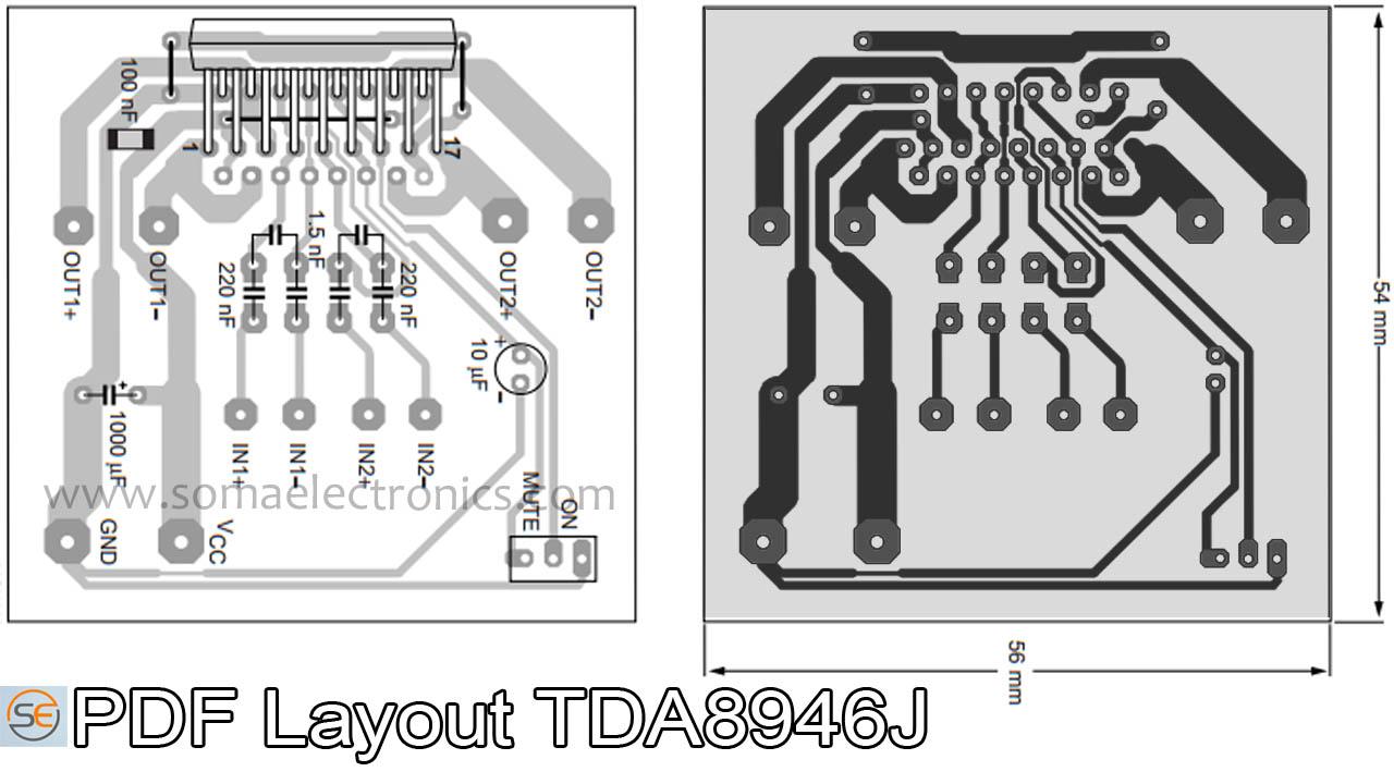 Tda8946j Ic 60-watt Stero Audio Amplifier Circuit Diagram Dx0809