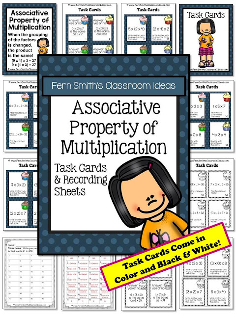 Fern Smith's Classroom Ideas Associative Property of Multiplication Task Cards with a cute kid and cupcake theme at TeacherspayTeachers.