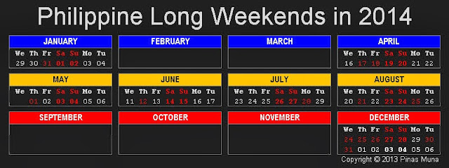 Long Weekends in the Philippines in 2014