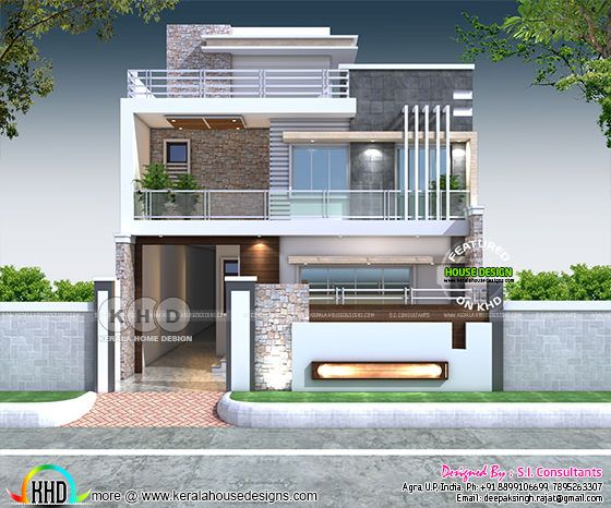 3400 sq-ft contemporary style 7 bedroom house plan