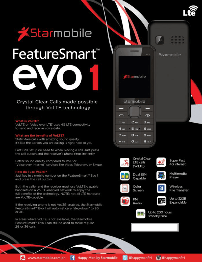 Starmobile together amongst Smart Communications Starmobile Intros FeatureSmart Evo1 With VoLTE Support