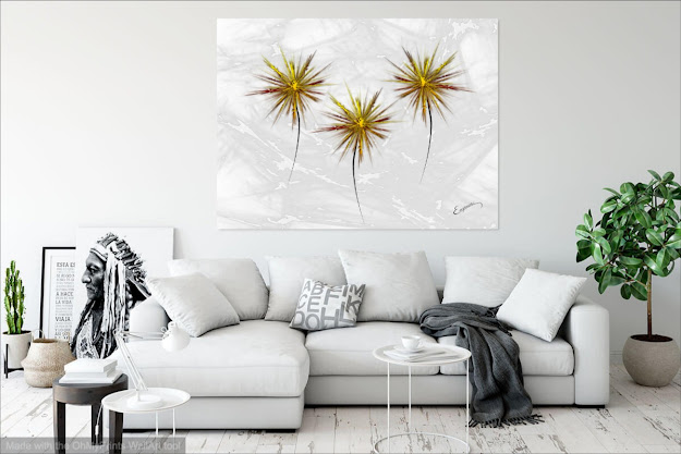 Golden Flowers Fine Art Painting by Eugenia Martini-Jarrett