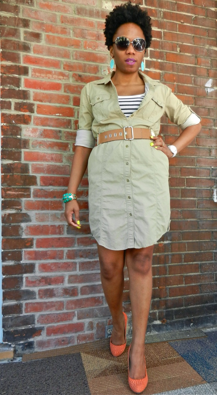 3b388aa49395 My favorite khaki dress gets a spring 2012 update in today's post. It's  layered over a stripe tank and paired with bright accessories.