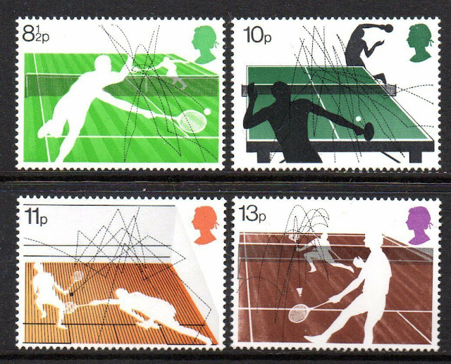 UK stamps from 1977 commemorating the Wimbledon centenary
