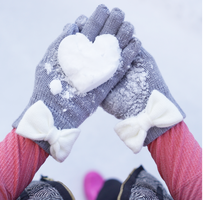 kate spade gloves, heart snowball, snow day attire, snow day outfit