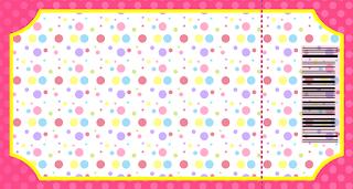 Tarjeta con forma de Ticket de Puntos de Colores para Niña.