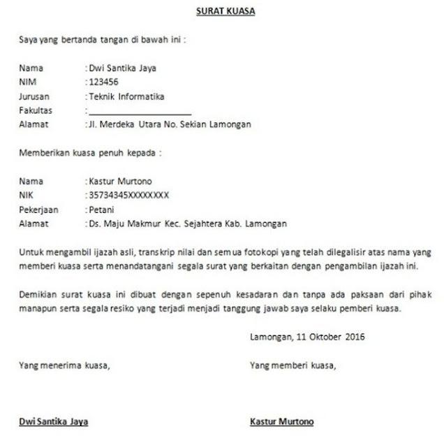 Contoh Surat Kuasa Pengambilan Ijazah (via: contohsuratmenyuratku.blogspot.com