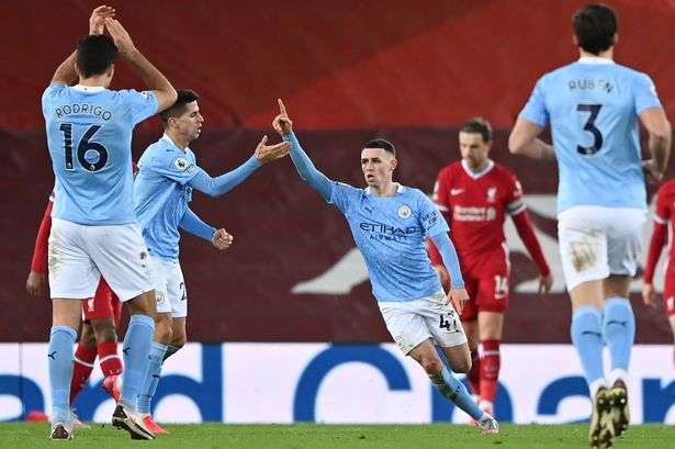Man City Phil Foden celebrates goal against Liverpool