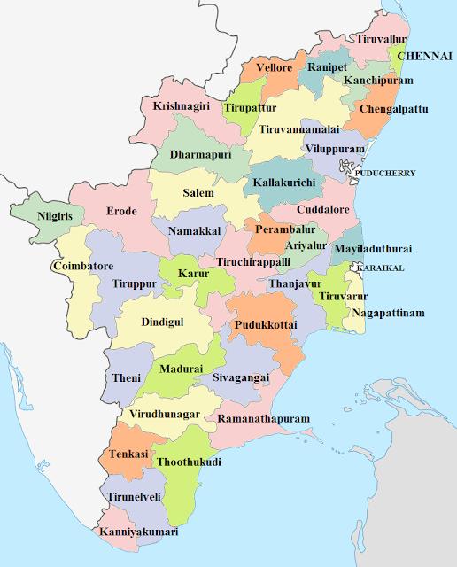Tamil Nadu Districts List 2020  map