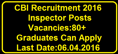Central Bureau of Investigation (CBI), New Delhi has introduced Inspector posts in Feb 2016|CBI Recruitment 2016 for 80 Inspector Posts/2016/03/cbi-recruitment-2016-for-80-inspector-post.html