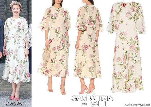 Queen Mathilde wore Giambattista Valli Floral Print Silk Chiffon Midi Dress in Neutrals