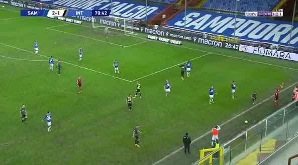 ملخص مباراة سامبدوريا وانتر ميلان (2-1) اليوم الاربعاء في الدوري الايطالي