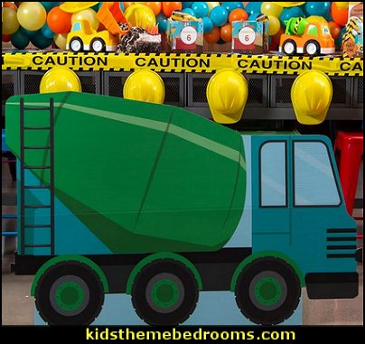 Construction Crew Cement Truck Standee  Construction party ideas - construction party decorations - digger construction party props - Dump Truck Party Decorations - crane construction theme party - work truck decorations - Digger Zone Boys Birthday Party -