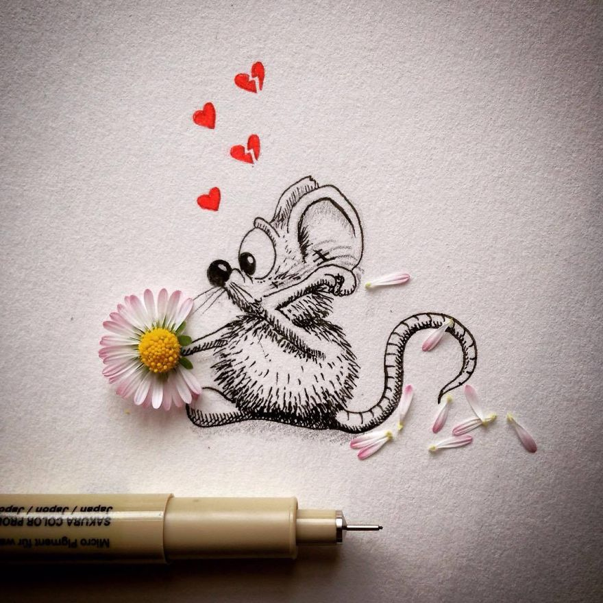 16-She-Loves-me-She-loves-me-NOT-Loïc-Apreda-apredart-Drawings-of-Rikiki-the-Mouse-and-his-Famous-Friends-www-designstack-co