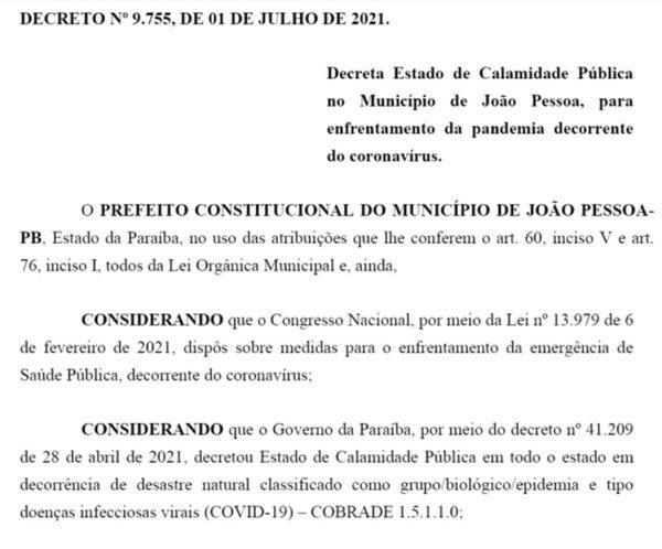 Cícero Lucena decreta estado de calamidade pública em João Pessoa decorrência da Covid-19