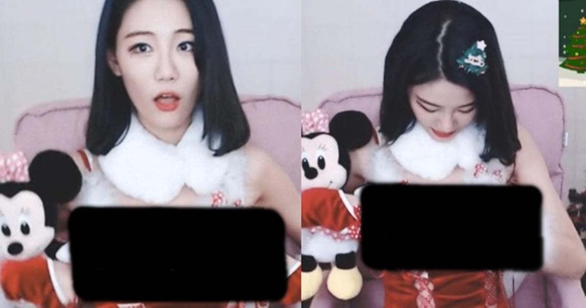 시청자 5만명이 본 산타복이 자꾸 내려간 탓에 보여서 영정먹을뻔한 빛베리 ㅗㅜㅑ (+영상)