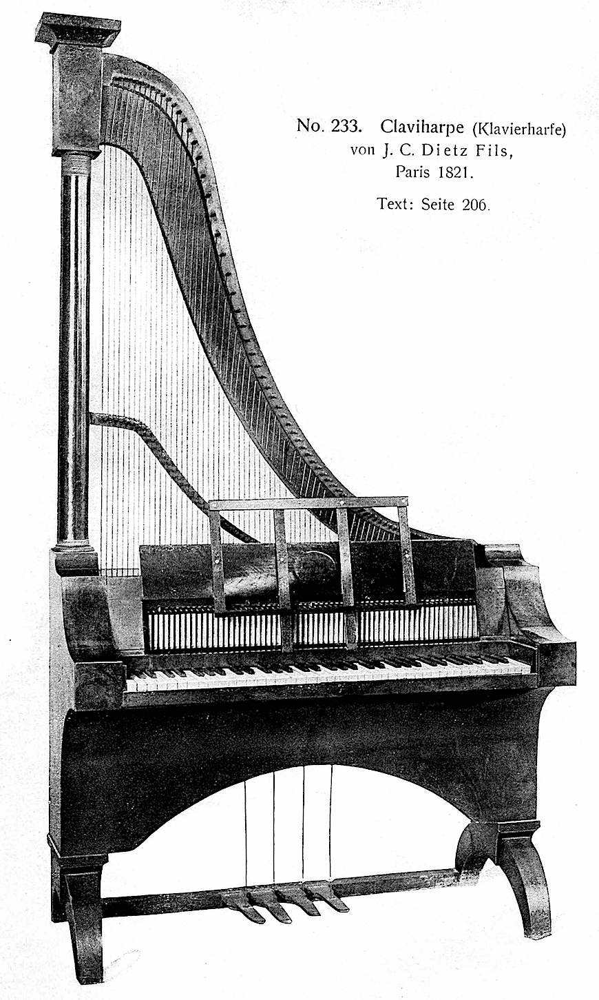 a photograph of an 1821 Claviharpe, keyboard plucks harp strings
