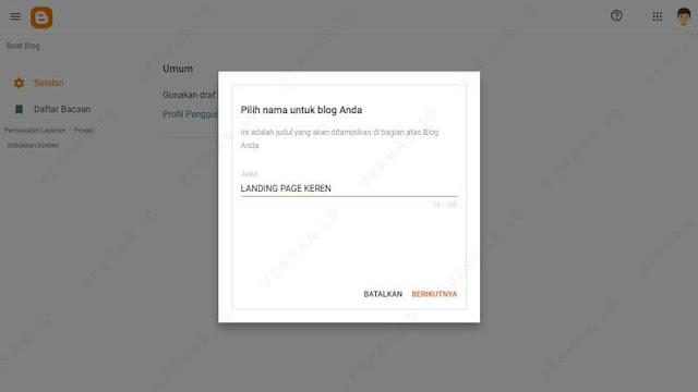 tulis url landing page blogspot