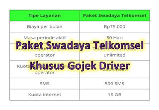 Paket Swadaya Telkomsel Gojek Driver 2020