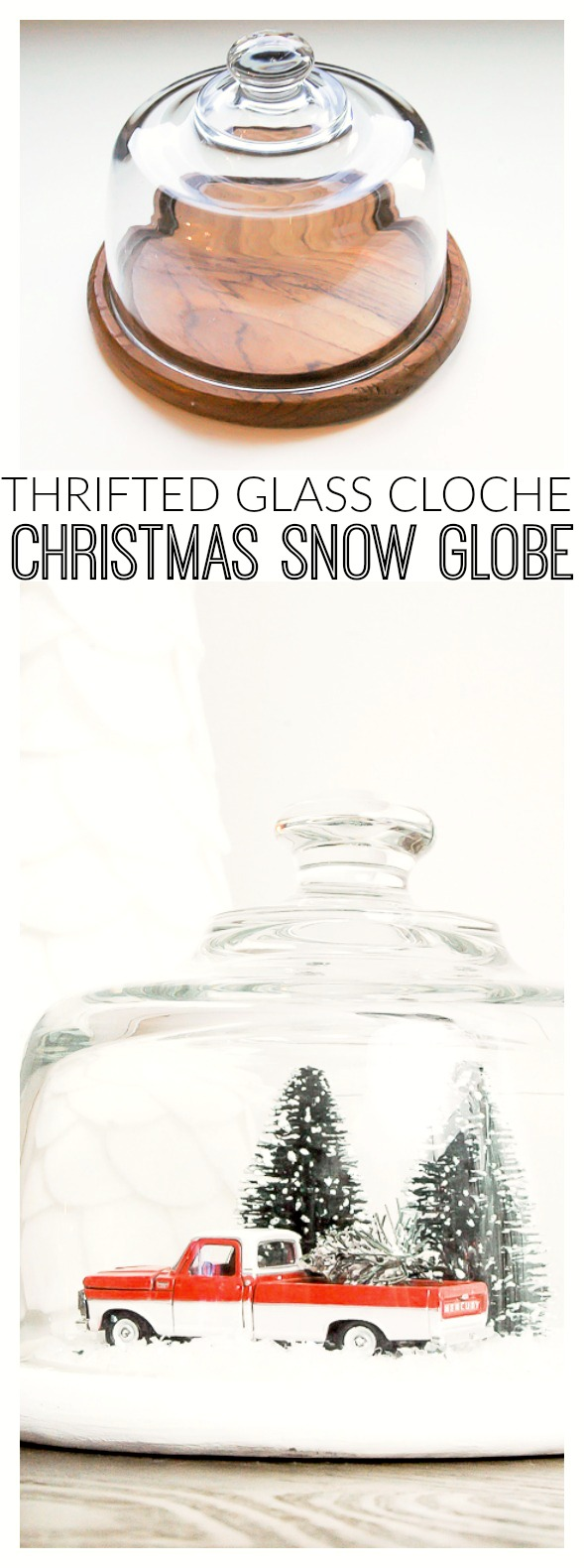thrifted glass cloche turned Christmas snow globe