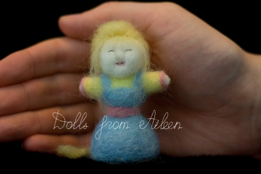 OOAK needle felted woman doll with human hand