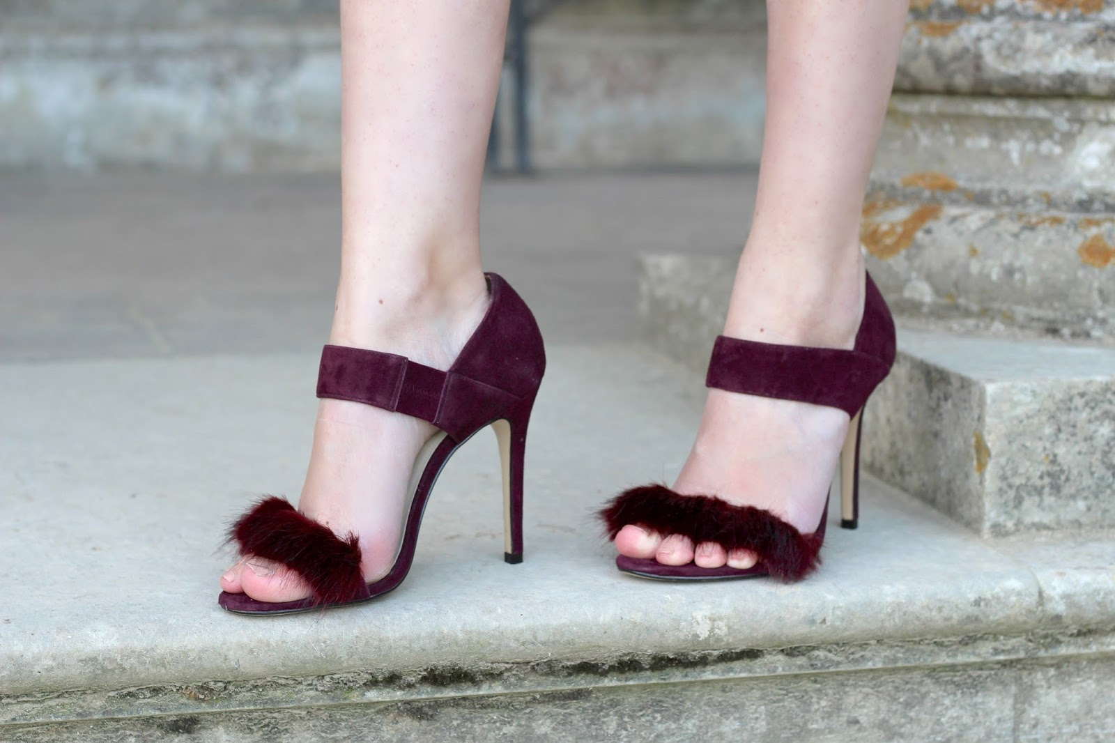 Burgundy Fur Trimmed Karen Millen Sandals