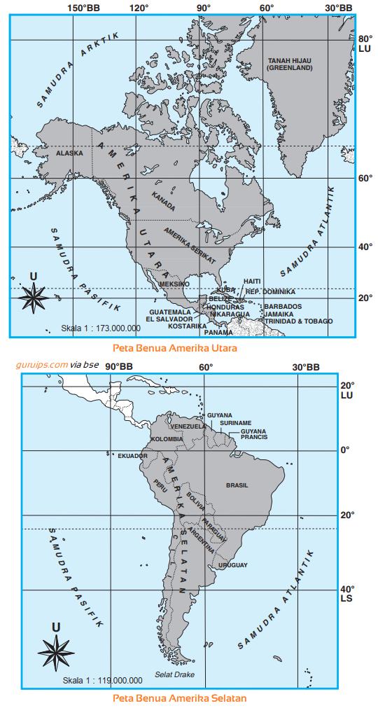 Gambar Peta Benua Amerika Utara dan Amerika Selatan