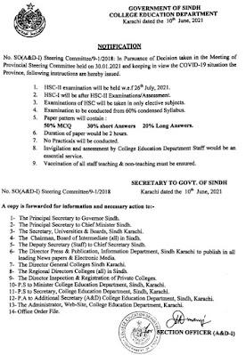 NOTIFICATION REGARDING CONDUCTING OF EXAMINATIONS IN COLLEGES