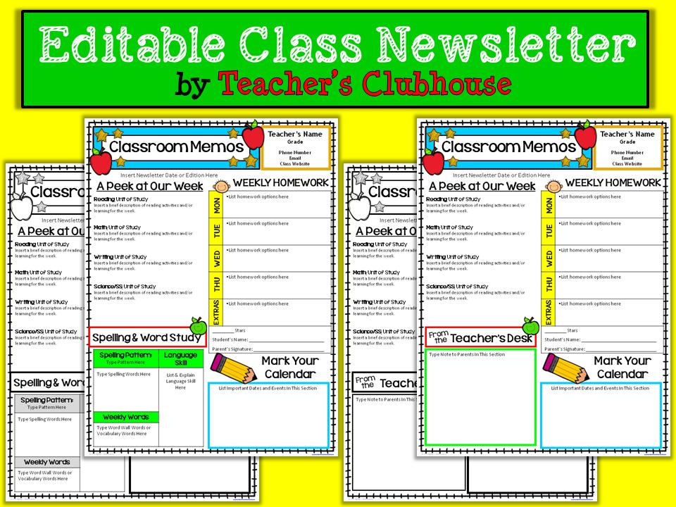 http://www.teacherspayteachers.com/Product/Editable-Class-Newsletter-1384368