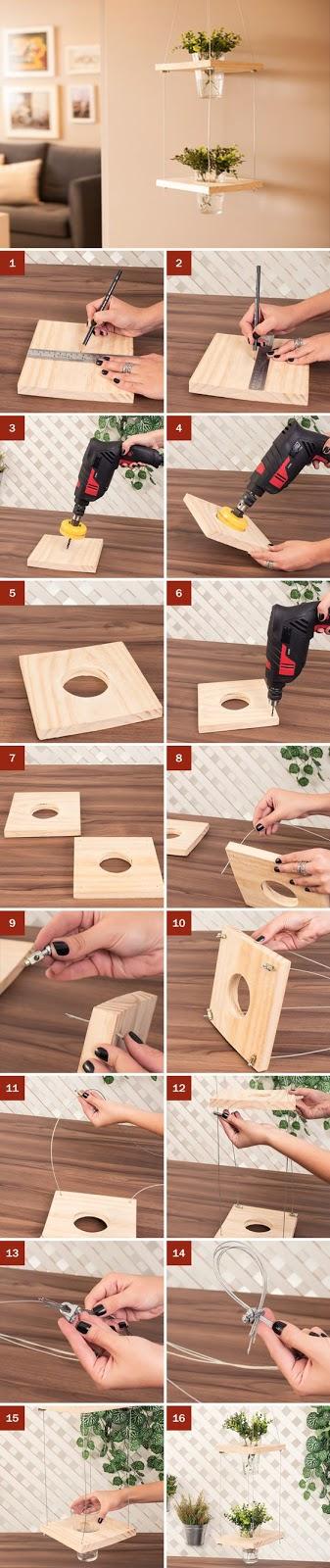 Manualidad de madera para decorar el hogar con plantas