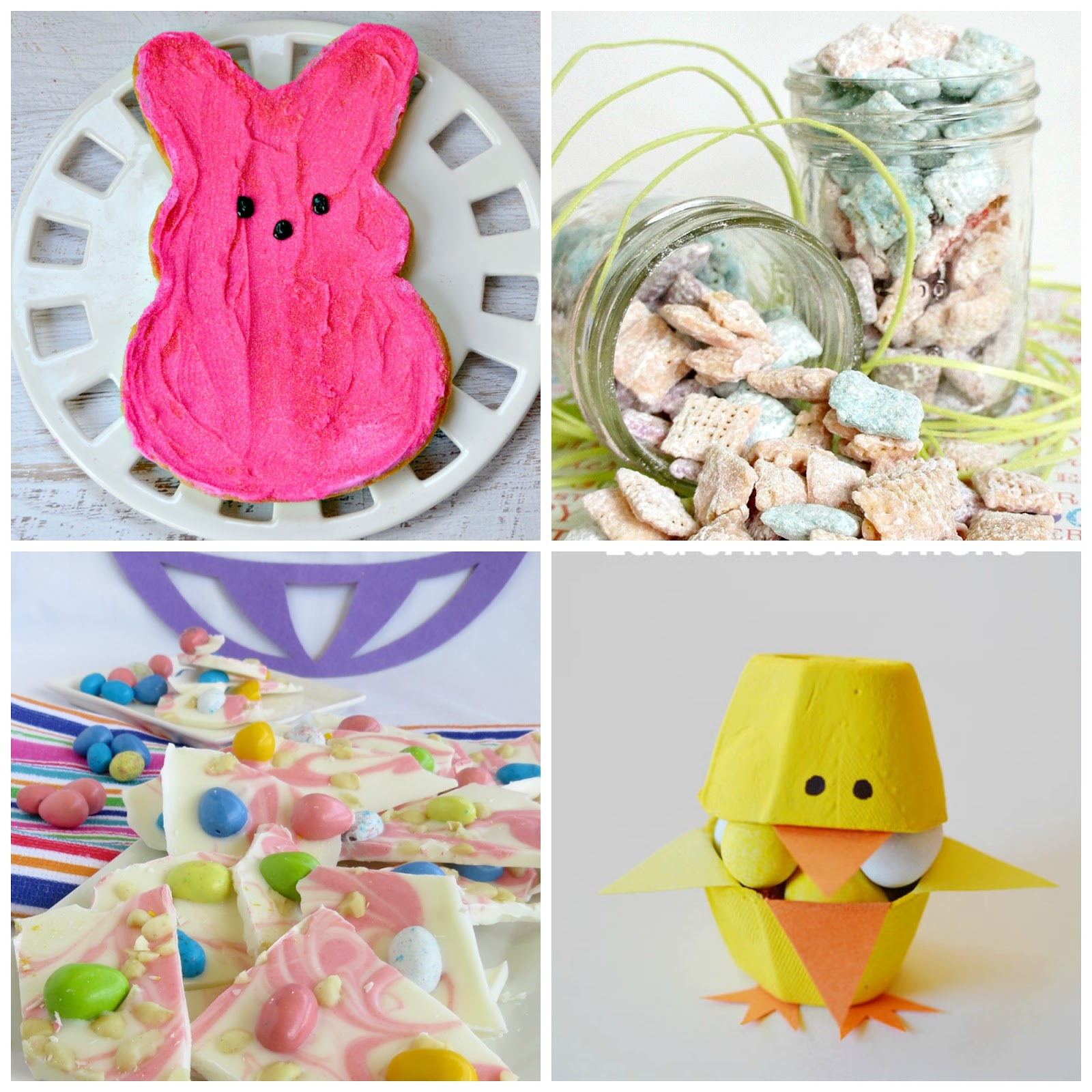 Peeps Cake, Muddy buddies, Macadamia Bark, Egg Carton Chicks