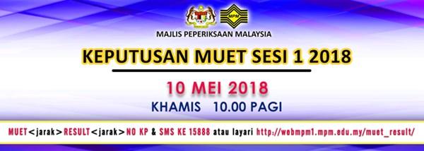 semakan keputusan MUET sesi 1 2018