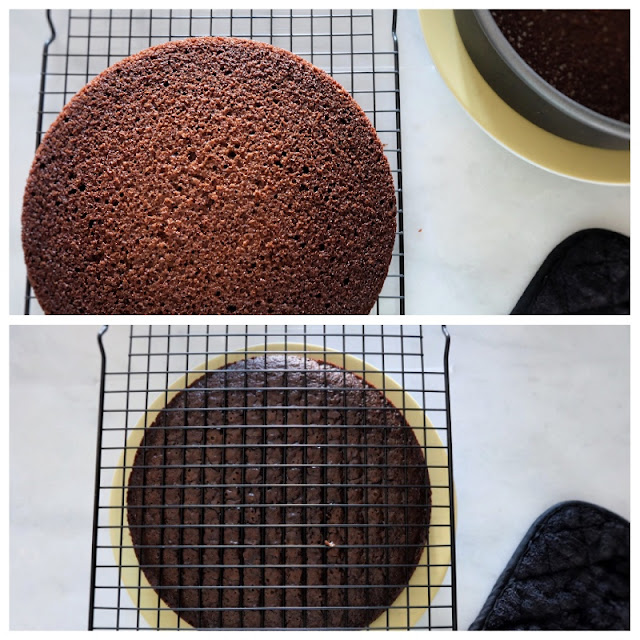 flipping cake from rack to plate