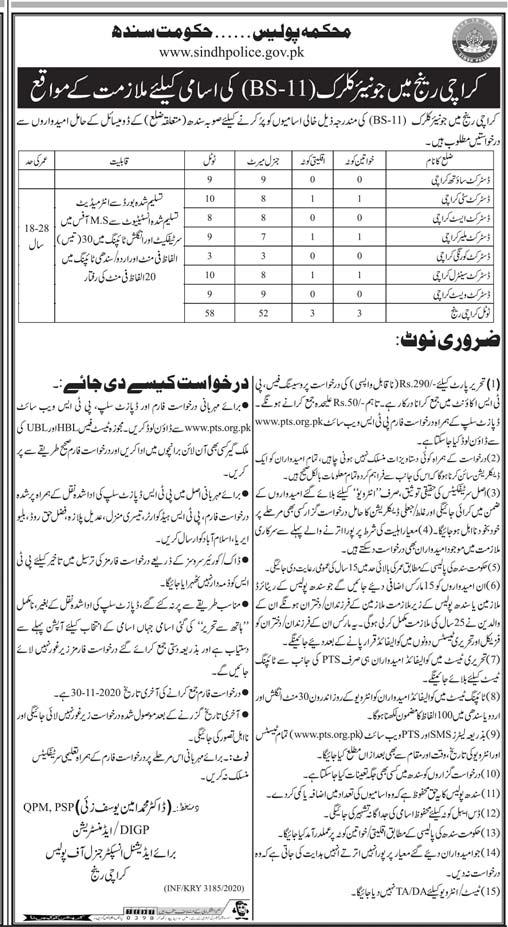Sindh Police Department Job 2020 for Junior Clerk in Karachi, Sukkur Cities - Download Job Application Form - www.sindhpolice.gov.pk - www.pts.org.pk 2020