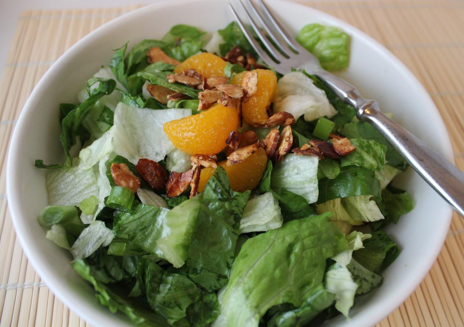romaine lettuce with mandarin oranges salad