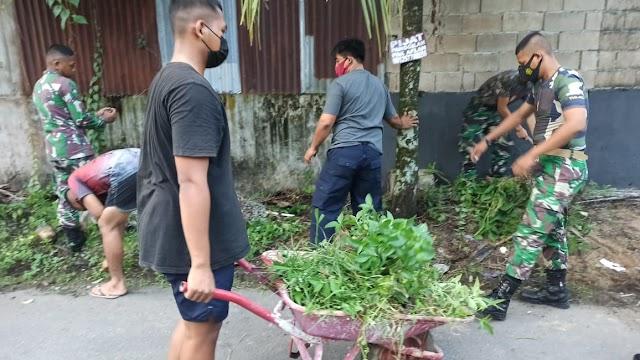 Bersihkan Lingkungan, Upaya Hubdam XII/Tpr Hidup Sehat