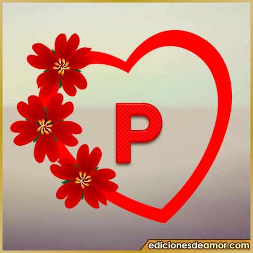 corazón de flores con letra P