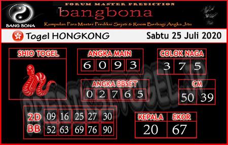 Prediksi Bangbona HK Sabtu 25 Juli 2020