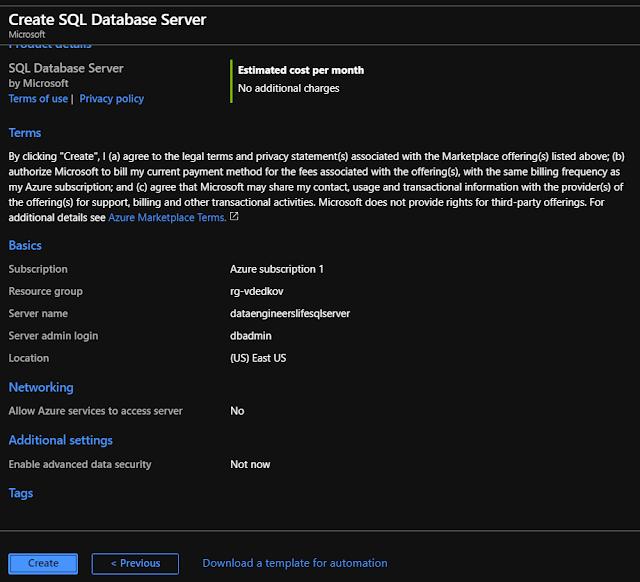 SQL Server review screen