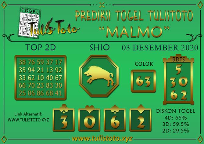 Prediksi Togel MALMO TULISTOTO 03 DESEMBER 2020