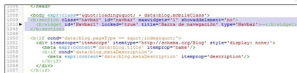 Eliminando el código del Navbar o Barra de navegación de Blogger