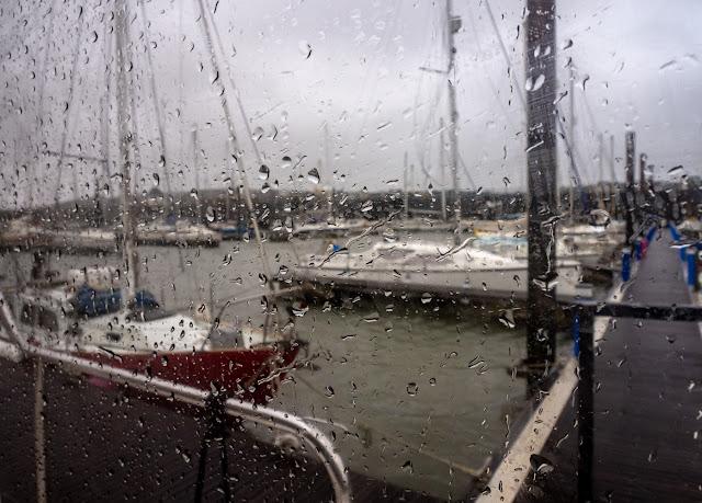 Photo of wind and rain at Maryport Marina on Saturday