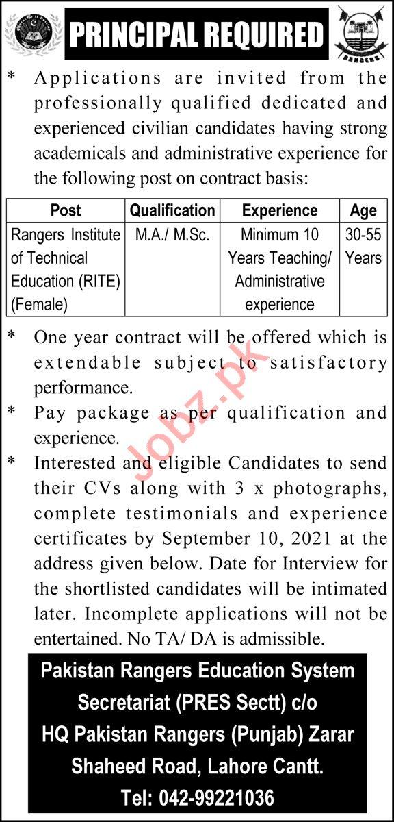 Jobs in Pakistan Rangers Education System