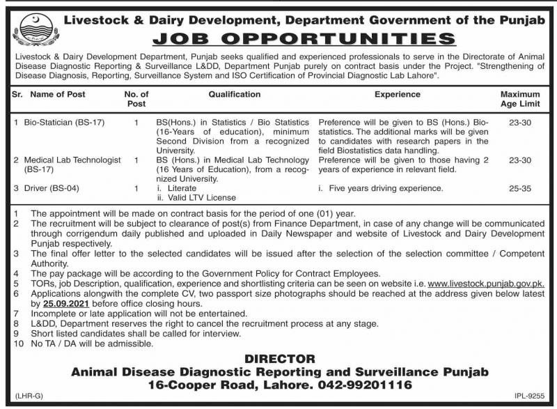 Livestock & Dairy Development Department Jobs 2021