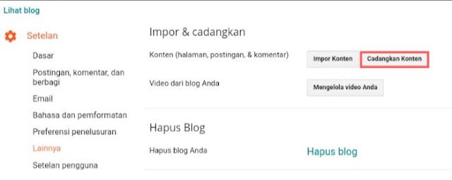 Mencadangkan konten untuk proses impor blog