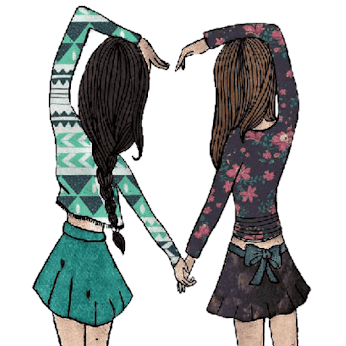 Illustration of two girls holding hans the girl on the left has brown hair in a braid and has a turquoise printed top and a plain skirt, the girl on the right has light coloured hair and is wearing a floral top and a brown skirt with a bow at the back their other arms are reaching over their head so that both girls arms come together to form a heart shape.
