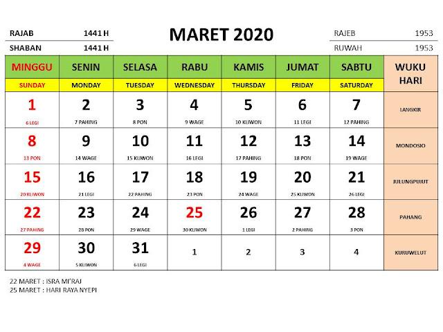 Kalender 2020 Jawa Bulan Maret