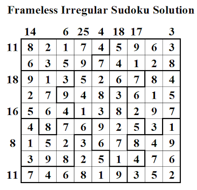 Frameless Irregular Sudoku (Daily Sudoku League #32) Solution